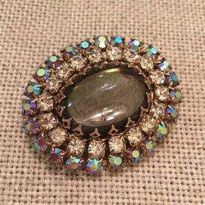 Vintage Oval Aurora Borealis Glass Rhinestone Pin